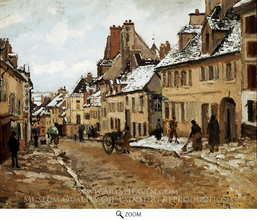 Painting Reproduction of Pontoise, the Road to Gisors in Winter, Camille Pissarro