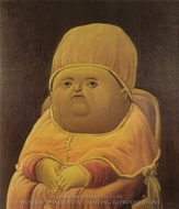 Pope Leo X (after Raphael) painting reproduction, Fernando Botero
