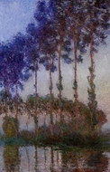 Poplars on the Banks of the River Epte at Dusk painting reproduction, Claude Monet