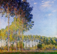 Poplars on the Banks of the River Epte, Seen from the Marsh by Claude Monet