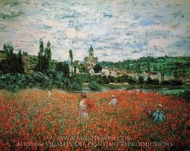 Poppy Field near Vetheuil painting reproduction, Claude Monet