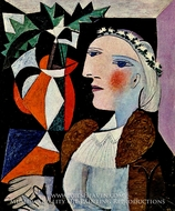 Portrait de Femme a la Guirlande painting reproduction, Pablo Picasso (inspired by)