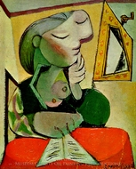 Portrait de Femme (Femme Lisant) painting reproduction, Pablo Picasso (inspired by)