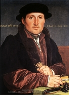 Portrait of a 28-Year-Old Man at His Desk painting reproduction, Hans Holbein, The Younger