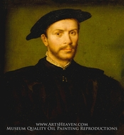 Portrait of a Bearded Man in Black by Corneille De Lyon