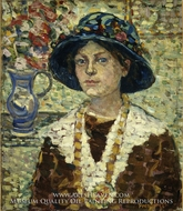 Portrait of a Girl with Flowers painting reproduction, Maurice Prendergast