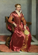 Portrait of a Lady (La Dama in Rosso) painting reproduction, Giovanni Battista Moroni