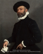 Portrait of a Man Holding a Letter painting reproduction, Giovanni Battista Moroni