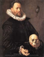 Portrait of a Man Holding a Skull painting reproduction, Frans Hals
