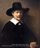 Portrait of a Man Holding Gloves by Rembrandt Van Rijn