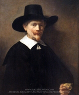 Portrait of a Man Holding Gloves painting reproduction, Rembrandt Van Rijn