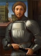 Portrait of a Man in Armour painting reproduction, Francesco Granacci