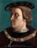 Portrait of a Man Wearing the Order of the Annunziata of Savoy painting reproduction, French Painter