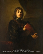 Portrait of a Man with a Breastplate and Plumed Hat by Rembrandt Van Rijn