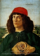 Portrait of a Man with a Medal of Cosimo the Elder painting reproduction, Sandro Botticelli