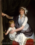Portrait of a Mother and Child by French Painter