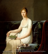 Portrait of a Woman Holding a Pencil and a Drawing Book painting reproduction, Robert-Jacques Lefevre