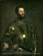 Portrait of Alfonso d'Avalos, Marchese del Vasto, in Armor with a Page by Titian