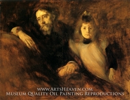 Portrait of Alphonse Daudet and His Daughter painting reproduction, Eugene Carriere
