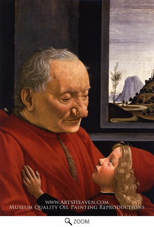 Painting Reproduction of Portrait of an Old Man with a Young Boy, Domenico Ghirlandaio