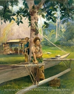 Portrait of Faase, the Taupo, or Official Virgin, of Fagaloa Bay, and Her Duenna, Samoa painting reproduction, John La Farge