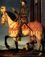 Portrait of Francois I on Horseback painting reproduction, Francois Clouet