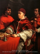 Portrait of Leo X with Cardinals Giulio de Medici and Luigi de Rossi by Raphael Sanzio