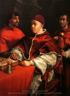 Portrait of Leo X with Cardinals Giulio de Medici and Luigi de Rossi painting reproduction, Raphael Sanzio