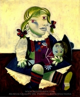 Portrait of Maya with a Doll painting reproduction, Pablo Picasso (inspired by)