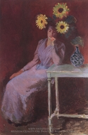 Portrait of Suzanne Hoschede with Sunflowers painting reproduction, Claude Monet