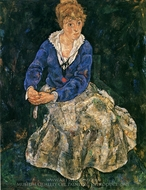 Portrait of the Artist's Wife, Seated painting reproduction, Egon Schiele
