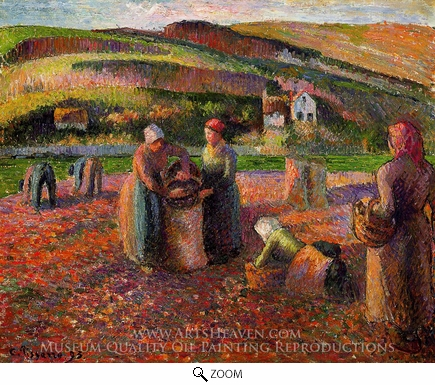 Painting Reproduction of Potato Harvest, Camille Pissarro