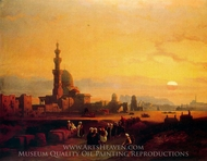 Procession Past the Tombs of the Khalifs painting reproduction, David Roberts