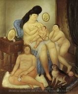 Protestant Family painting reproduction, Fernando Botero