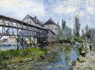 Provencher's Mill at Moret painting reproduction, Alfred Sisley