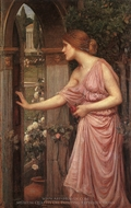 Psyche Entering Cupids Garden painting reproduction, John William Waterhouse