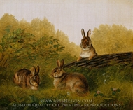 Rabbits on a Log painting reproduction, Arthur Fitzwilliam Tait