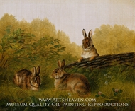 Rabbits on a Log by Arthur Fitzwilliam Tait