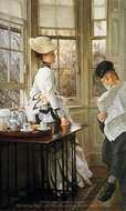 Reading the News painting reproduction, James Tissot