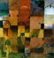 Red and White Domes painting reproduction, Paul Klee