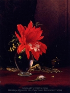 Red Flower in a Vase painting reproduction, Martin Johnson Heade