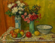 Red Flowers and Fruit by Georges d'Espagnat