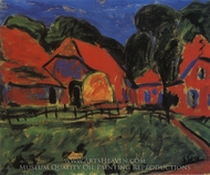 Red Houses painting reproduction, Erich Heckel