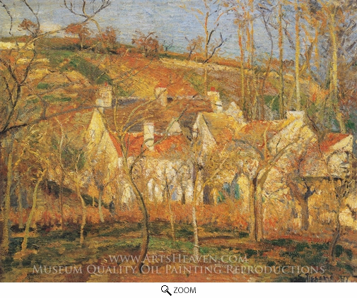 Camille Pissarro, Red Roofs, a Corner of the Village in Winter oil painting reproduction
