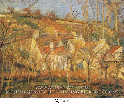 Painting Reproduction of Red Roofs, a Corner of the Village in Winter, Camille Pissarro
