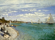 Regatta at Sainte-Adresse painting reproduction, Claude Monet