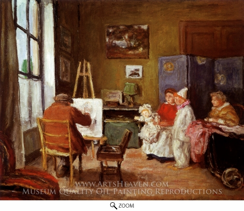 Painting Reproduction of Renoir Painting his Family in his Studio at 73 rue de Caulaincourt, Paris, Albert Andre