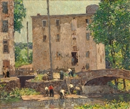 Repairing the Bridge painting reproduction, Robert Spencer