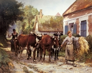 Returning from the Fields painting reproduction, Julien Dupre