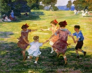 Ring Around the Rosie painting reproduction, Edward Potthast